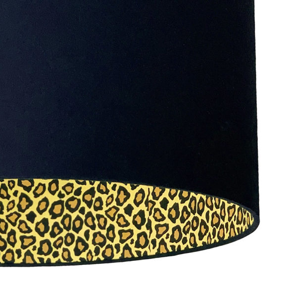 Deep Space Navy Lampshade With Leopard Print Lining