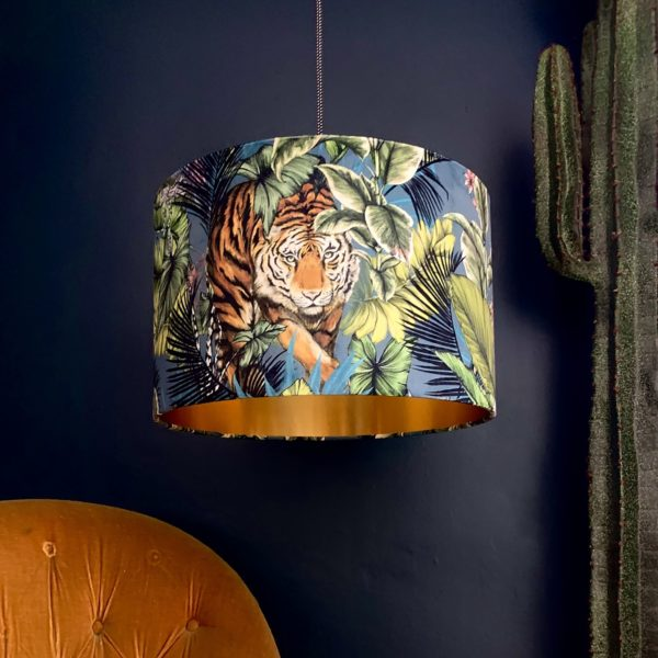 Big Cat Velvet Lampshade With Gold Lining In Flint Green