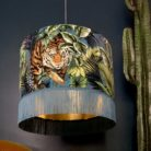 Big Cat Velvet Lampshade With Gold Lining And Fringing