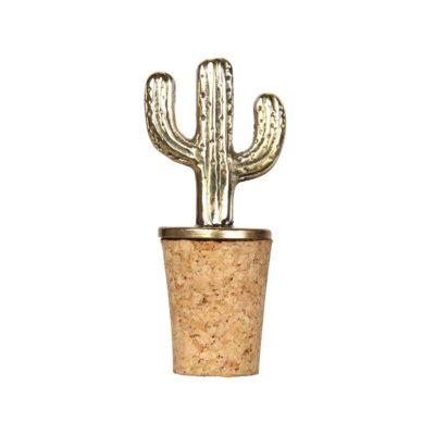 Brass Cactus Bottle Stopper
