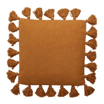 Rust Cotton Tassel Cushion
