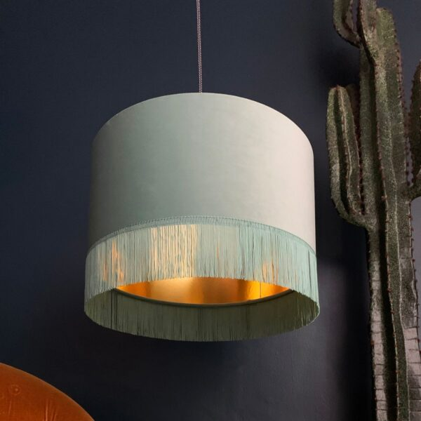 Sea Green Velvet Lampshade With Gold Lining And Fringing