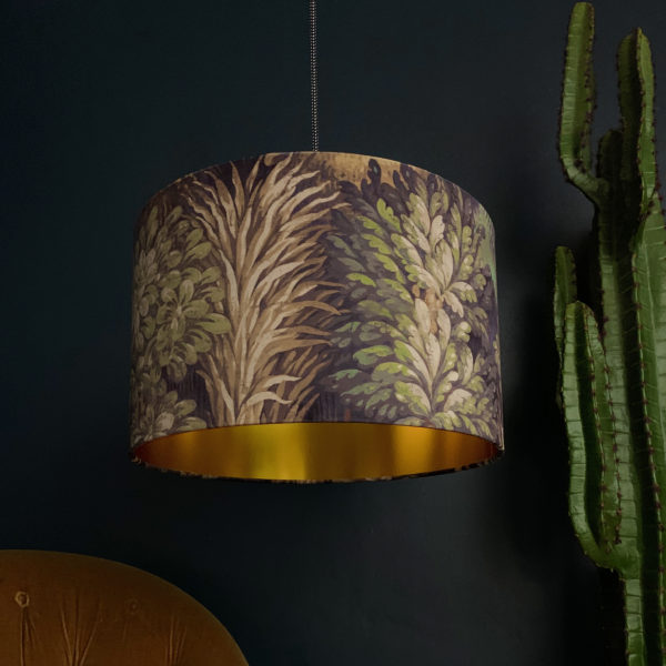 Cinnamon Enchanted Wood Velvet Lampshade With Gold Lining
