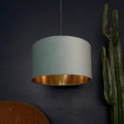 Sea Green Velvet Lampshade With Gold Lining