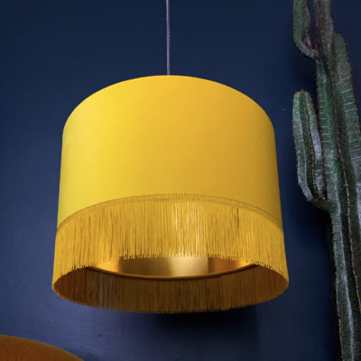 Sunset Yellow Velvet Lampshade with Gold Lining & Fringing