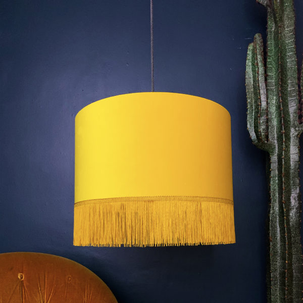 Sunset Yellow Velvet Lampshade with Gold Lining & Fringing