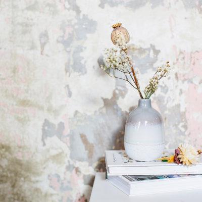 Mini Grey Glazed Vase Lifestyle