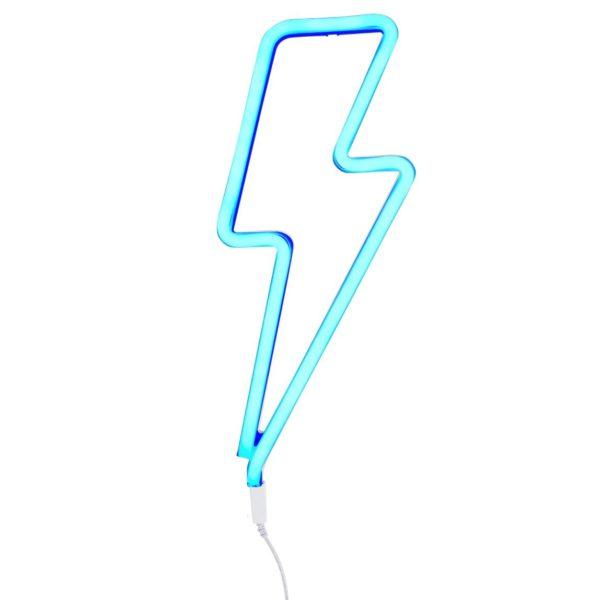 Neon Style Lightning Bolt Light In Blue