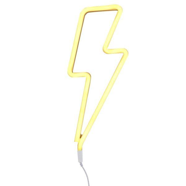 Neon Style Lightning Bolt Light In Yellow