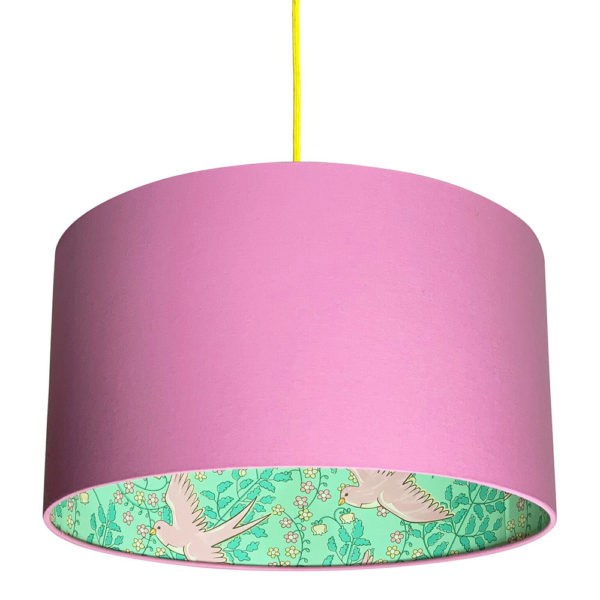 Pink Swallows Lampshade In Candy Floss Pink Cotton