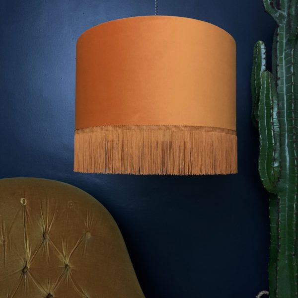 Rust Velvet Lampshade With Gold Lining And Fringing