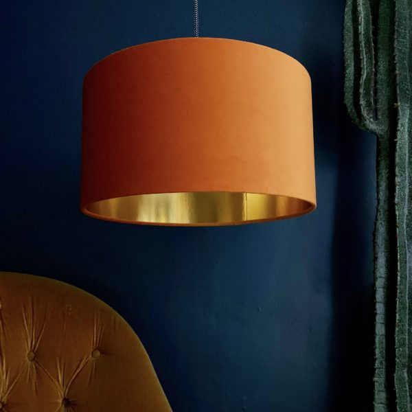 Rust Velvet Lampshade With Gold Lining