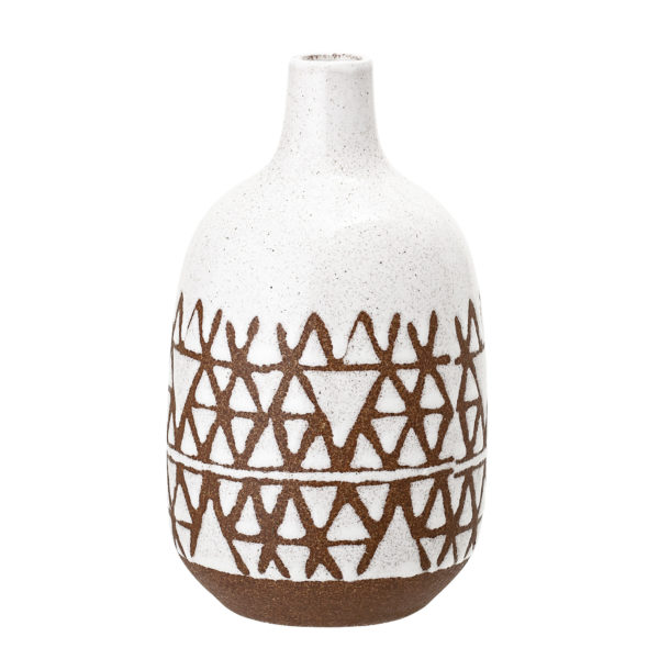 White and Terracotta Stoneware Vase