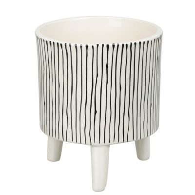 Large Monochrome Striped Planter