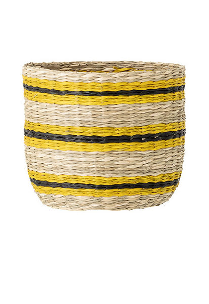 Medium Yellow and Black Striped Seagrass Basket