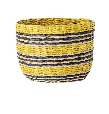 Small Yellow and Black Striped Seagrass Basket