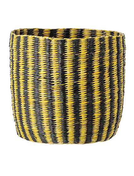 Yellow and Black Horizontal Striped Seagrass Basket