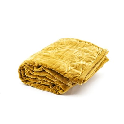 Honey Yellow Velvet Throw