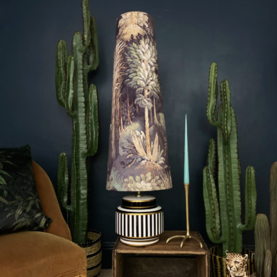 ENCHANTED WOODS VELVET KING & QUEEN OVERSIZED CONE LAMPSHADES IN CINAMMON