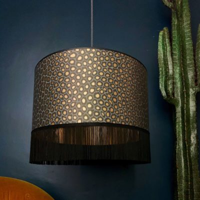 Senzo Spot Lampshade With Gold Lining and Fringing In Charcoal