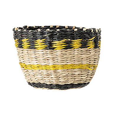 Small Yellow and Black Seagrass Basket