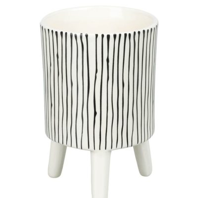 Small Monochrome Striped Planter