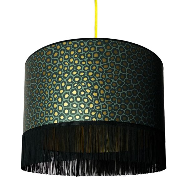 Charcoal Senzo Lampshade With Gold Lining And Fringing