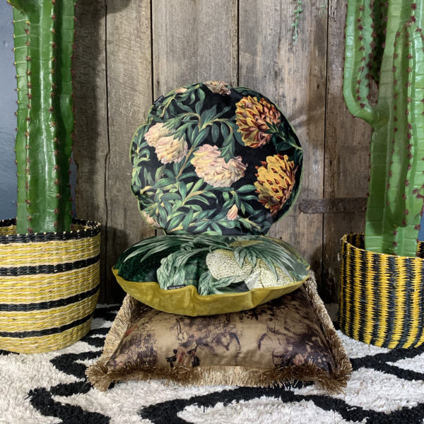 Exotic Flowers Velvet Cushion