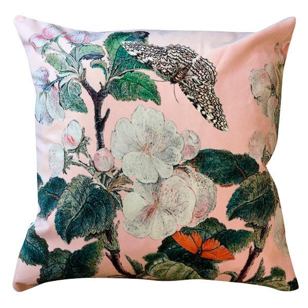 Apple Blossom Velvet Cushion In Nude Pink