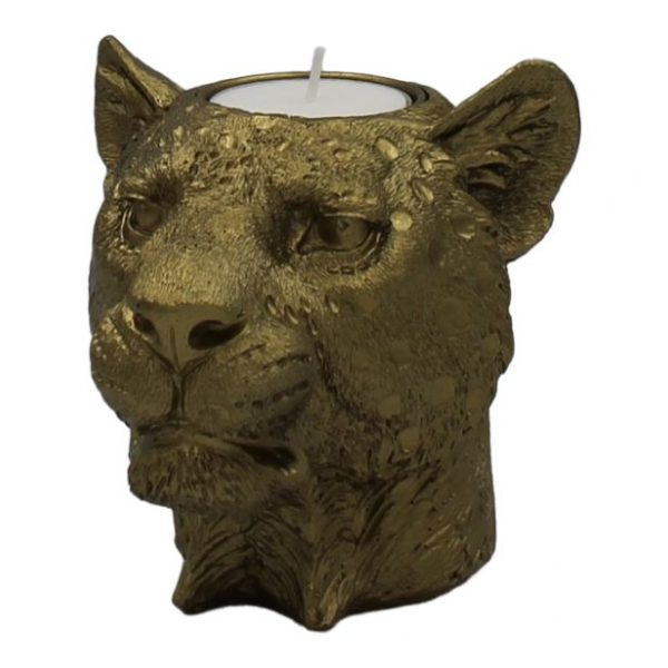 Gold Lioness Head Candle Holder