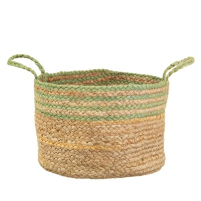 Green Striped Jute Basket