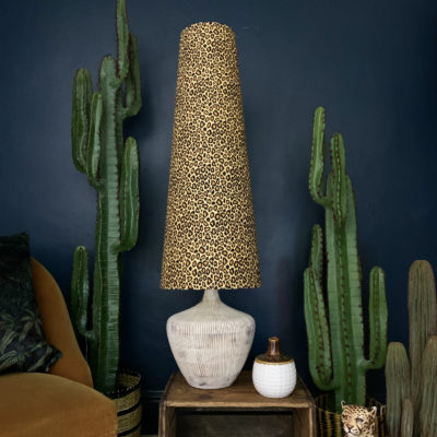 KING & QUEEN OVERSIZED CONE LAMPSHADES IN LEOPARD PRINT COTTON