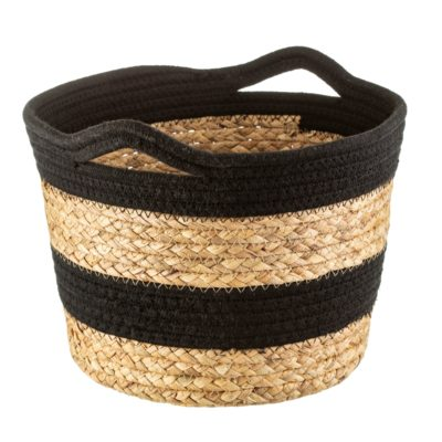 Striped Rope Basket With Handles