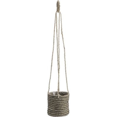 Black and Natural Jute Hanging Planter
