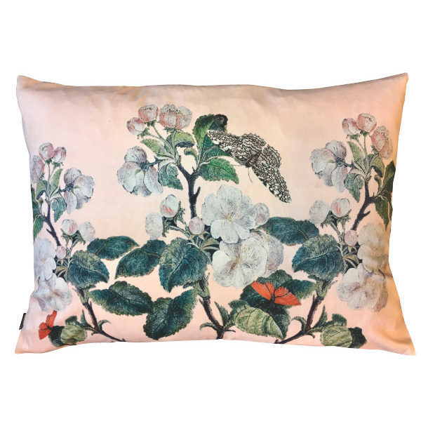 Nude Pink Apple Blossom Floral Velvet Bolster Cushion
