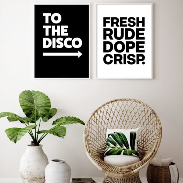 To The Disco In Black Typography Art Print