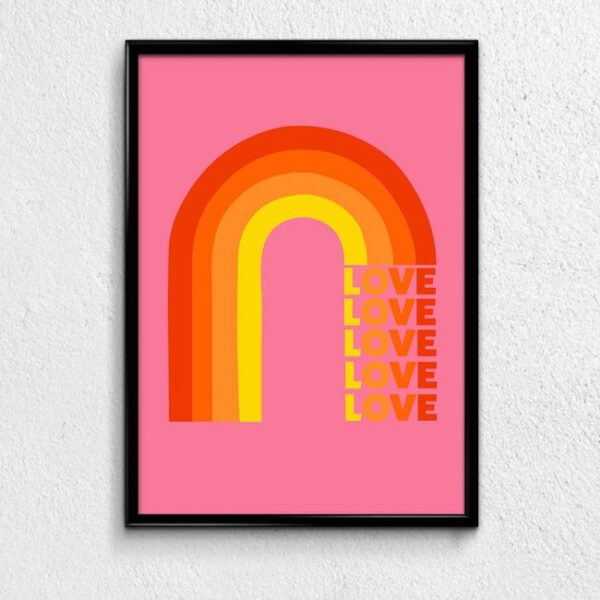 Love Rainbow Pink Art Typography Print