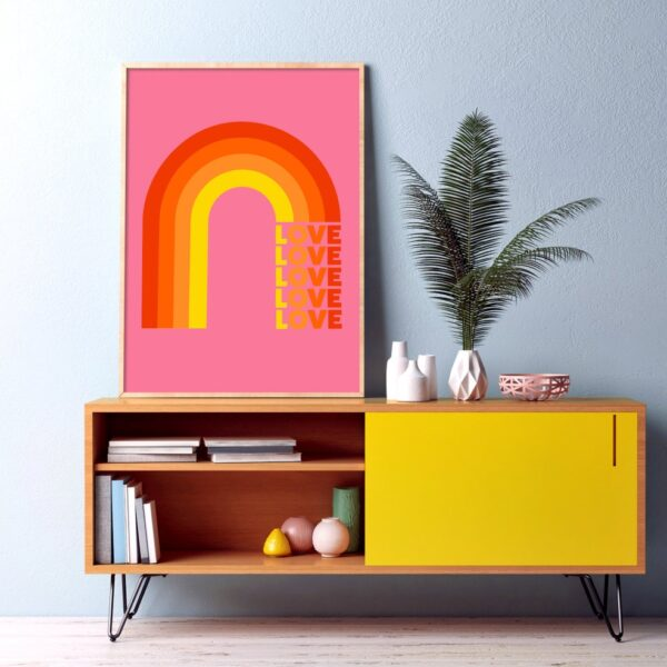 Love Rainbow Pink Art Typography Print