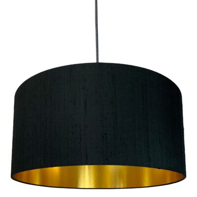 Carbon Black Silk Lampshade With Gold Lining
