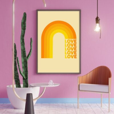 Love Rainbow In Orange Typography Art Print