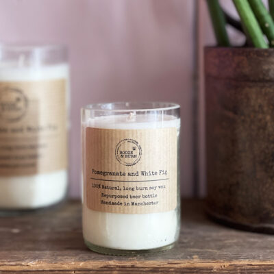 pomegranate and white fig beer bottle candle