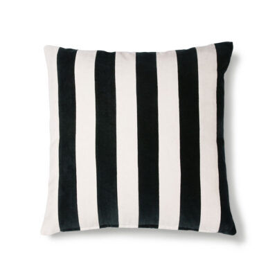 Striped Velvet Cushion in Black and White