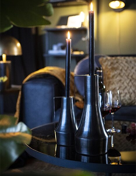 Black/Silver Iron Candle Holder