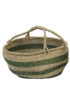 Natural and Moss Green Slouchy Basket