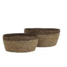 Natural and Brown Shallow Basket