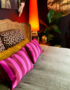 Pink and purple striped cushion