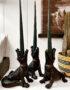 black crocodile candle holder