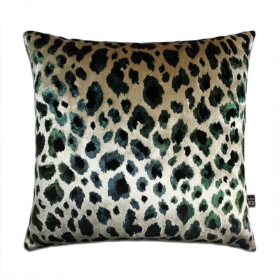 love-frankie-green-leopard-velvet-cushion
