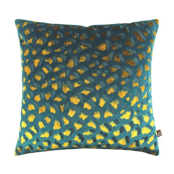 love-frankie-teal-and-mustard-leopard-velvet-cushion