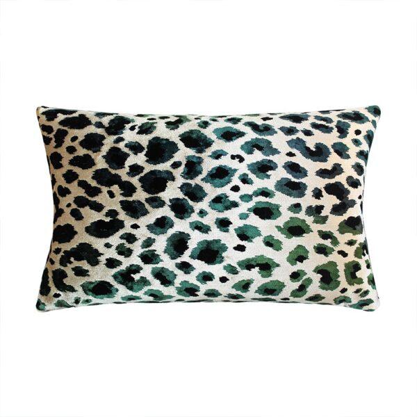 love-frankie-green-leopard-print-velvet-bolster-cushion